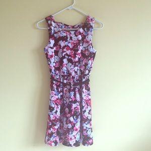 Pink, White, Black Floral Print Dress